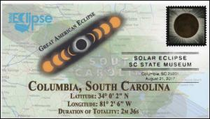 17-234, 2017, Total Solar Eclipse, Columbia SC, Event Cover, Pictorial Cancel,