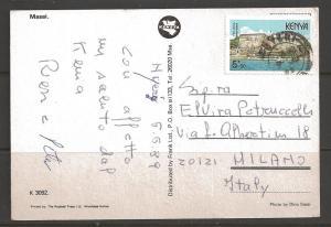 Kenya 1989 5'50 Fort Jesus Mombasa on postcard to Milan Italy