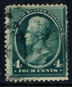 US - 1883 - Sc.211 4c Blue Green - fine used (small thin spot)
