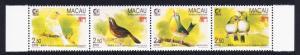 Macao Macau Songbirds strip of 4v SG#899-902 MI#814-817 SC#786-789