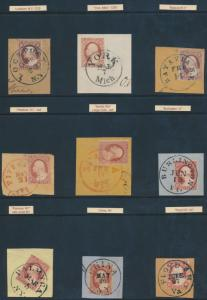 #11 (9) USED WITH DIFFERENT TOWN CANCELS BP1881