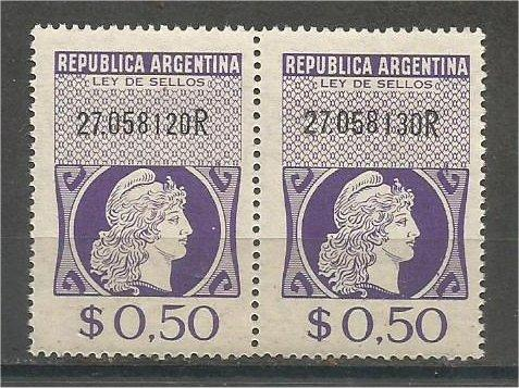 ARGENTINA, 1957, MNH $0.50 pair, REVENUE