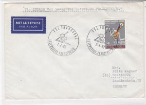 Luxembourg 1962 Airmail First Flight Lion Slogan Cancels  Stamps Cover ref 22738