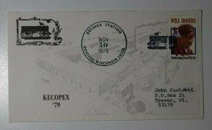 KECOPEX Station Kenosha WI Will Rogers 15c Philatelic Expo Cachet Cover