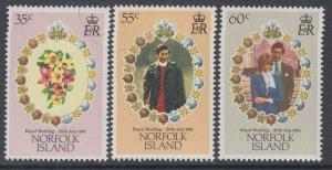Norfolk Island 280-282 Royal Wedding MNH VF