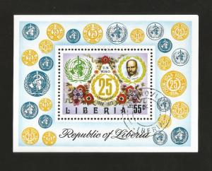E) 1973 LIBERIA, WHO EMBLEM, 25TH ANNIV OF WHO, CANCEL TO ORDER,  S/S, MNH