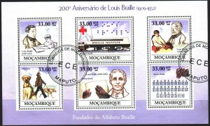 Mozambique. 2009. Small sheet 3427-32. Braille, medicine, dog. USED.
