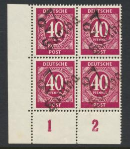 GERMANY - SOVIET ZONE  HARTHA BEZIRK 27  1948, 40pf BLOCK VF NH