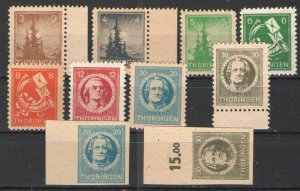 Germany - SBZ/Thuringia 1945-46 Sc# 16N1-16N8 MH VG - Includes Imperf issues