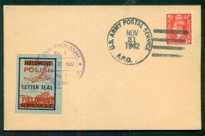 1942, U.S. APO tying GB 1d with Polish Feldpost Label tied with special cancel,