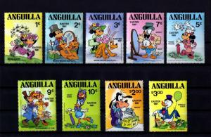 ANGUILLA - 1981 – DISNEY - EASTER OUTFITS - MICKEY - DONALD ++ 9 X MINT MNH SET!