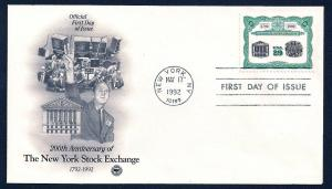 UNITED STATES FDC 29¢ NY Stock Exchange 1992 Postal Society