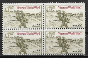 1985 USA 2054 Veterans World War I MNH block of 4