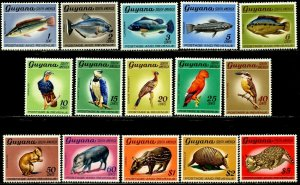 GUYANA Sc#68-82 1968 Wildlife Watermarked Complete Set OG Mint Hinged