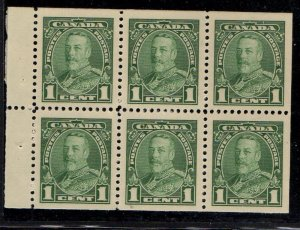 Canada Sc 217b 1935 1c green G V Booklet pane of 6 mint