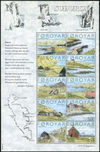 Faroe 441 aj sheet,MNH. Suthuroy Island,2004.Landscapes,Map,Cow.