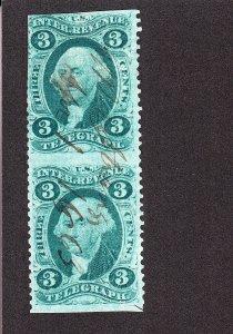 US R19b 3c Telegraph Used Pair F-VF SCV $82.50