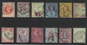 Great Britain, 1887-1892, Scott #111-122 used, Complete Set of 12,  V.F.