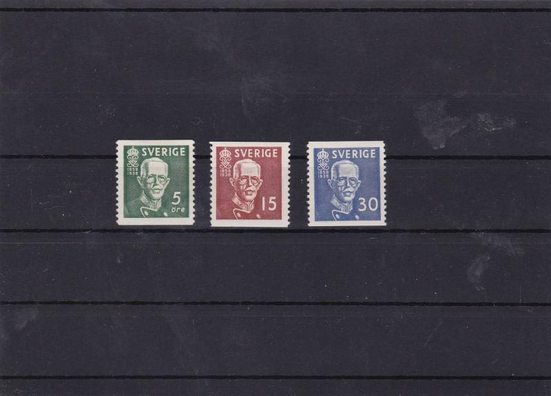 sweden 1938 mounted mint stamps set cat £21  ref 7282