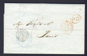 1866 English Stamp-less folded letter to Paris with 3x PM & red PD oval cover