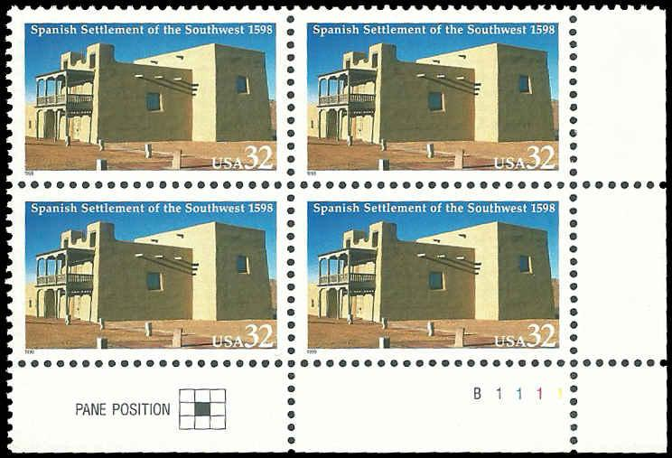 PCBstamps    US #3220 PB $1.28(4x32c)Spanish Settlement of the Southwest, MNN...