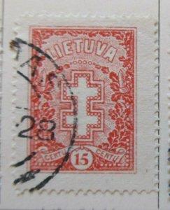 A11P5F53 Litauen Lituanie Lithuania 1926-27 Wmk Intersecting Diamonds 15c used
