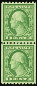 486, Mint Superb NH 1¢ Coil Line Pair TRUE GEM! -- Stuart Katz