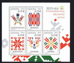 Lithuania Sc 1055 2015 Embroidery stamp sheet mint NH