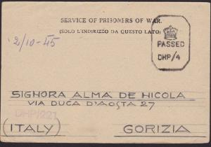 INDIA 1945 P.O.W. postcard to Italy ex Camp 26/3B Passed Censor............6467
