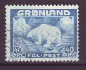 J16560 JLstamps 1938-46 greenland used #8 polar bear
