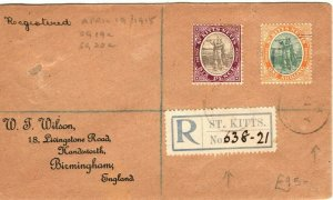 ST KITTS & NEVIS SG.19a & SG.20a Cover Registered GB Birmingham 1915 PB261