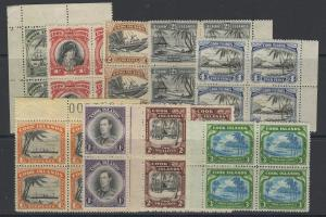 COOK ISLANDS SG137/45 1944-6 DEFINITIVE SET IN MNH BLOCKS OF 4