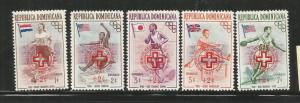 DOMINICAN REPUBLIC, B1-5, MINT HINGED, SEMI POSTAL STAMPS, FLAGS IN NAT. COLOR