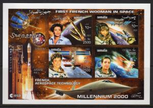 Somalia 2001  French Woman in Space/Concorde Sheetlet (4) Perforated MNH