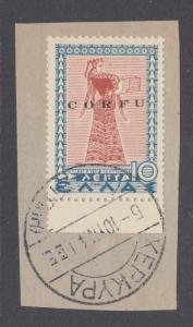 Corfu Sc N17 used. 1941 10l re-issue w overprint issued under Italian Occupation