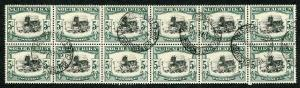 South Africa SG64 1933 5/- black and green block of 12 RARE Buitensingel CDS