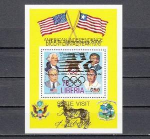Liberia, L.U.R.D. C214 issue. Los Angeles Olympics, L.U.R.D. Gold o/p s/sheet. ^