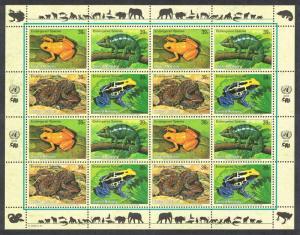 UN New York Frog Chameleon Boa snake Sheetlet of 4 sets SG#966-969 MI#1015-1018