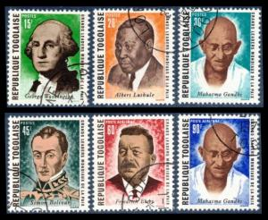 TOGO 1969 #713-716 #C122-C123 COMPLETE CTO SET OF 6 PEACE LEADERSS SCV $1.30