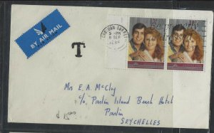 SEYCHELLES  COVER (P1002B)1986 QEII 12P PR ON A/M COVER TAXED ENGLAND TO PRASLIN