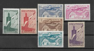 French Morocco 1939-40, Airmail, Scott # C20-C26, VF MNH**,,(FR-1)