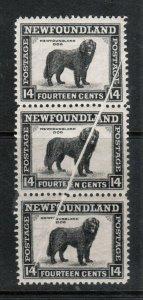 Newfoundland #261 Mint Rare Pre Printing Variety Paper Fold Strip Of Three