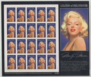 #2967a Marilyn Monroe Imperf Sheet, XF NH, Light Fingerprint on Gum  (GD 7/9)