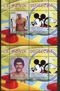 Djibouti 2008 2 M/S Disney Cartoon Swimming People Sports Phelps Stamps MNH perf