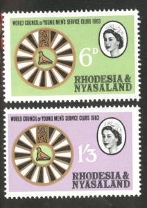 Rhodesia and Nyasaland Scott 189-90 MNH** QE2 set 1963