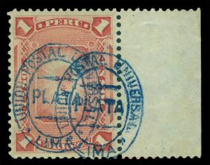 PERU 1881 Sun God of Incas 1s rose - blue ovpt.- DOUBLE OVPT. Scott# 42b mint MH