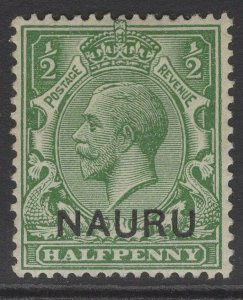 NAURU SG1 1916 ½d YELLOW-GREEN MTD MINT