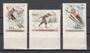 Hungary, Scott cat. C158, 162, 164. Skiing IMPERF values from Sports issue.