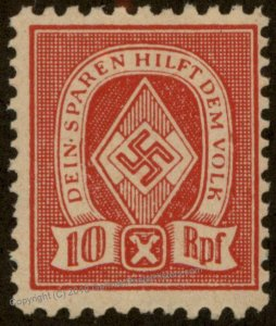 3rd Reich Germany Hitler Jugend Youth Savings Stamp MH 96197