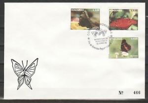 Honduras, Scott cat. 370-372. Butterfly issue. First Day Cover.